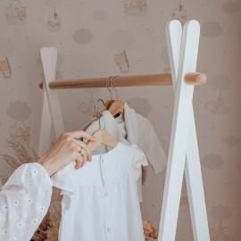 Стійка для одягу біла з натуральним